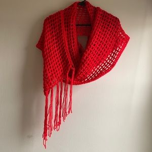 Chunky Red Knit Winter Fringe Scarf